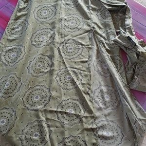 Nasty Gal Long High Slit Green Skirt with Belt